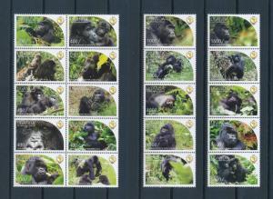 [25824] Uganda 2011 Wild Animals Monkeys MNH