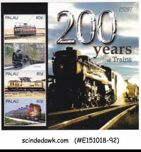 PALAU - 2005 200 YEARS OF TRAINS - MINIATURE SHEET MNH