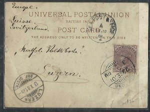INDIA    (PP2809B)  1901   QV 1A  ON PPC TO SWITZERLAND