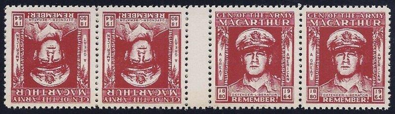 General Macarthur Cinderella Poster Stamp Tete-beche Gutter Strip of 4 1880-1964