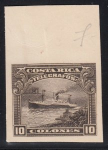 Costa Rica 1910 10col Brown Ship Telegraph ABNC Marginal Plate Proof