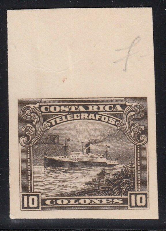 Costa Rica 1910 10col Brown Ship Telegraph ABNC Marginal Plate Proof