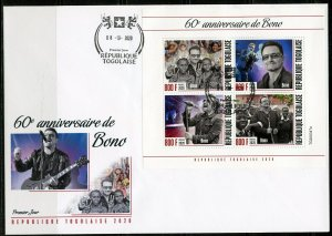 TOGO  2020  60th ANNIVERSARY OF BONO SHEET FIRST DAY COVER