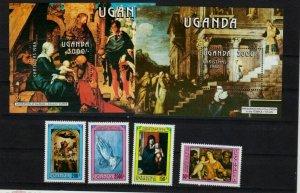 Uganda 1986 art paintings Durer Titian  set+2s/s MNH