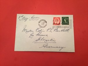 UK Guernsey 1952 Christmas FDC  special cancel stamp cover R36154