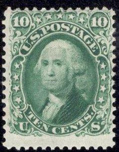 US Stamp #68 10c Washington MINT OG Hinged SCV $950. PSE Cert.