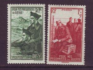 J24601 JLstamps 1941 france set set mh #b108-9 prisioners of war