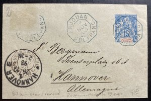 1893 Anjouan Comoros Island Stationery Paqueboat cover To Hannover Germany