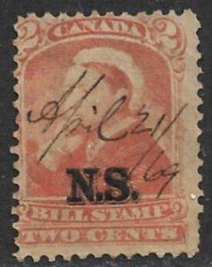 CANADA NOVA SCOTIA 1868 QV 2c BILL STAMP REVENUE VDM. NSB3 USED