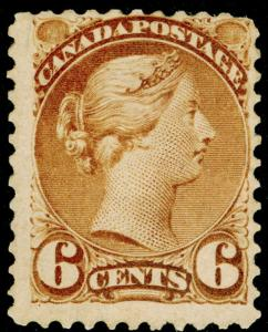 CANADA SG98, 6c yellowish brown M MINT. Cat £500. PERF 11½x12