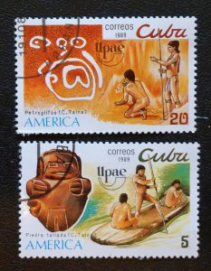 CUBA Sc# 3149-3150 UPAEP  AMERICA Issue  Natives  CPL SET of 2  1989  used / cto