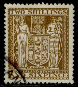 NEW ZEALAND GVI SG F147, 2s 6d deep brown, USED.