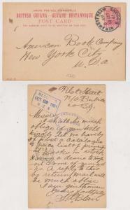 BC BRITISH GUIANA 1901 PS CARD H&G 8 NEW AMSTERDAM Cds TO NEW YOEK VF SCARCE
