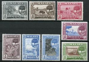 MALAYA MALACCA  PARTIAL SET INCLUDES $5  THE HIGH VALUE   MINT NH  WHITE PAPER
