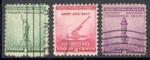US Stamp #899-901 - Used National Defense Issue