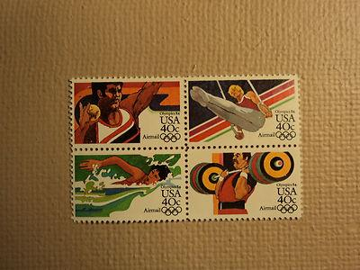 USPS Scott C105-08 40c Summer Olympics 1984 Mint NH Block...