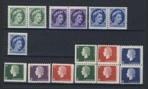 16x Canada Elizabeth II Coil Stamps 3x Pairs #345-46-47 #347-406-08-09 GV=$49.00