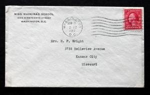 US Stamp Sc# 463 Early Use on Miss Madeira's School Washington DC Cover 1917
