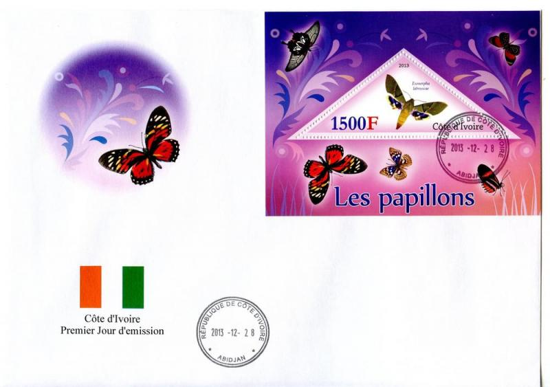 IVORY COAST FDC BUTTERFLIES INSECTS