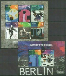 AB1235 2014 NEVIS ART GRAFFITI OF BERLIN WALL #2899-04 MICHEL 25 EURO KB+BL FIX