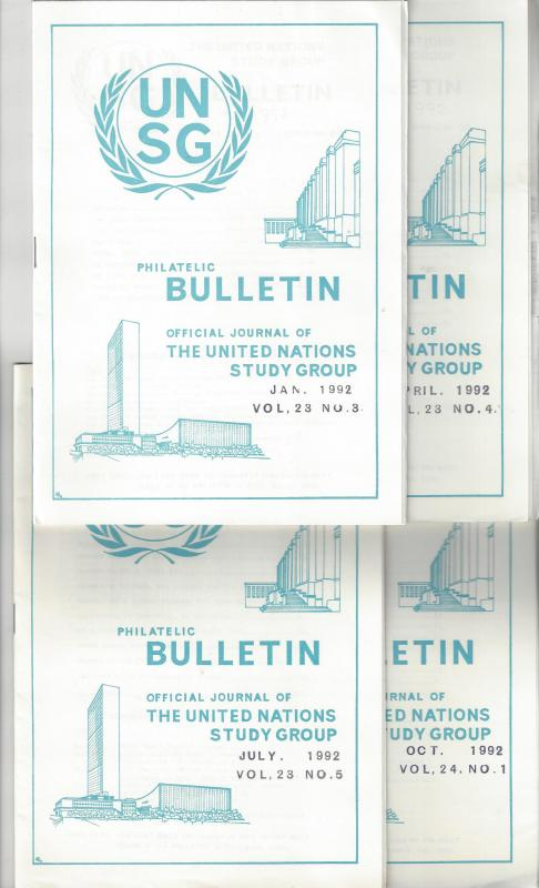 United Nations UNSG Philatelic Bulletin, Vol 23/24 1992  4 Dif editions