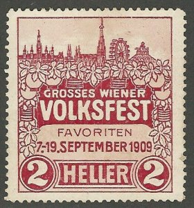 Austria, 1909, Greater Vienna People's Festival, Poster Stamp / Cinderella Label