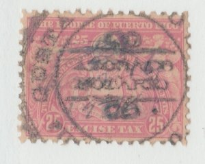 Puerto Rico Revenue fiscal Cinderella stamp 10-12- tnx perfed pink