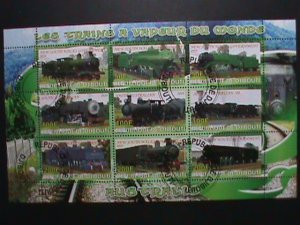 ​DJIBOUTI-STAMP-2010 CLASSIC TRAINS CTO- MNH STAMP SHEET RARE
