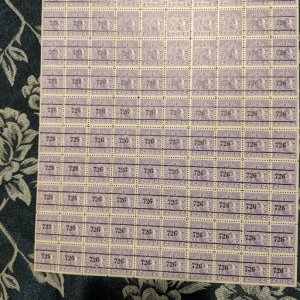 Utah Cigarette Stamp Tax SRS C26a, VF Booklet Pane of 100, CV $50