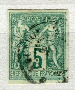 FRENCH COLONIES; Classic 1877-78 Imperf P & C type fine used 5c. value
