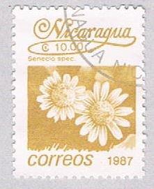 Nicaragua Flower lt brown 10 - pickastamp (AP108728)