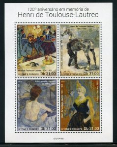 SAO TOME 2021 120th MEMORIAL OF HENRI TOULOUSE-LAUTREC PAINTINGS SHEET MINT NH