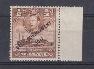 Malta KGVI 1948 1/2d NT Joined Error SG235a MNH J6667