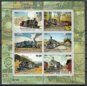 Mauritania, 2003 issue. Classic Locomotives sheet.