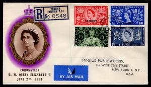 Great Britain Offices In Morocco 579-582 Queen Elizabeth II Coronation Typed FDC