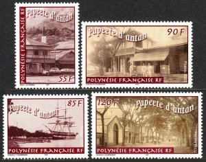 French Polynesia 845-848, MNH. Old Papeete.Automobiles,Buildings,Ship, 2003