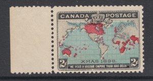 Canada Sc 86, MLH. 1898 2c Map, blue oceans, sheet margin example, fresh, VLH