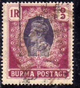 BURMA BIRMANIA BIRMANIE MYANMAR 1938 1940 KING GEORGE VI RE GIORGIO ONE RUPIA...