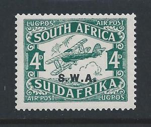 South West Africa #C1 NH 4p So African Biplane Airmail Ovptd. SWA