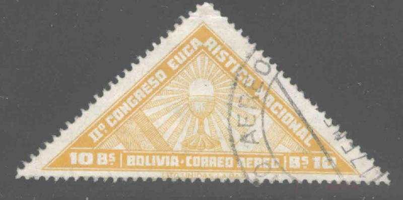 Bolivia Scott C81  Used 1939 airmail, adhesion, top value Chalice