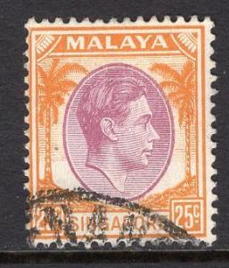 Singapore   #14  used   1948  George  VI   25ct   perf 14