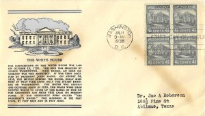 #809 Prexie FDC, 4-1/2c White House, Linprint cachet, block of 4