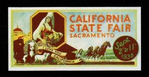 REKLAMEMARKE POSTER STAMP CALIFORNIA STATE FAIR SACRAMENTO 1938 MNH-OG