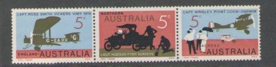 Australia Sc 470a 1969 England Australia Flight stamp strip of 3 mint NH