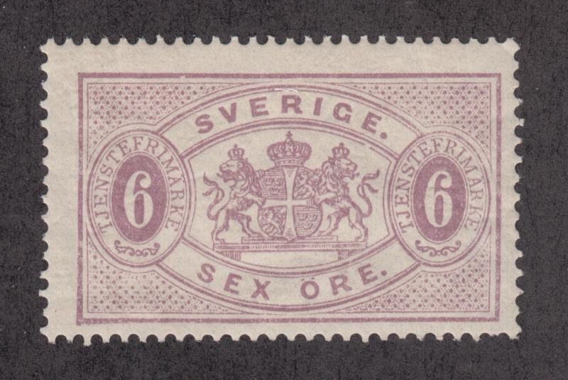 Sweden Sc O16 MLH. 1882 6o red lilac Official