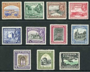 Cyprus SG133/43 KGV 1934 Set of 11 Fine M/Mint