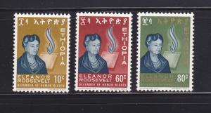 Ethiopia 425-427 Set MNH Eleanor Roosevelt (A)
