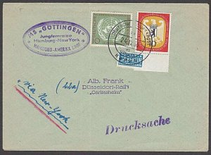 GERMANY 1955 Berlin Notopfer stamp on ship cover - nice franking............B316