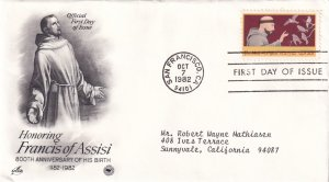 1982, Honoring Francis of Assisi, Art Craft/PCS, FDC (E12265)