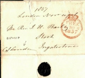 GB FREE Cover & Contents BISHOP *London House* Letter 1837 {samwells-covers}EP76